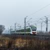 45WE-008 :: Impuls w ulewnym deszczu,<br /> jako pociąg KM linii R1,<br /> opuścił perony Jaktorowa<br />.   18.03.2017 r. Chyl
